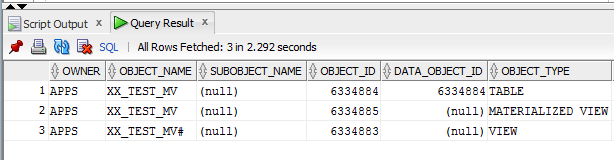 materialized view in Oracle R12