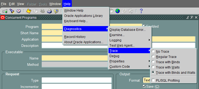 oracle apps forms enable trace