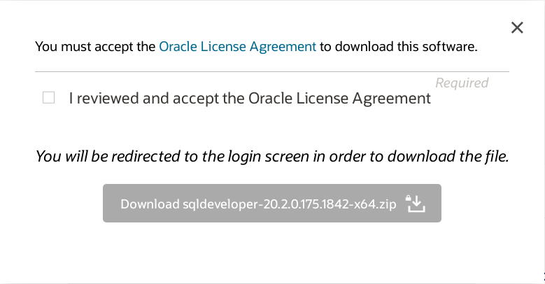 Accept Oracle License Agreement to Download SQL Developer