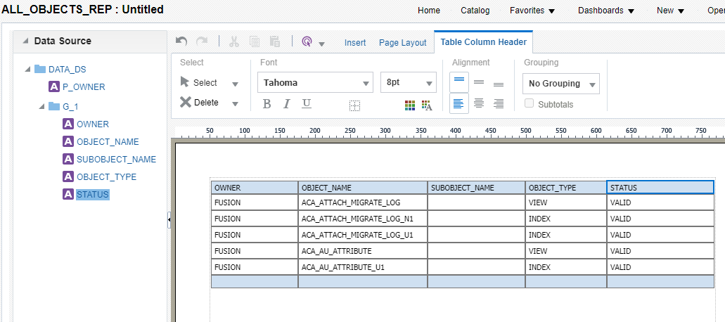 create report layout