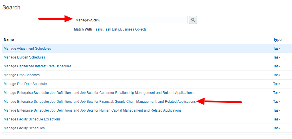 Select Manage Enterprise Scheduler Job Definitions and Job Sets for Financial, Supply Chain Management, and Related Applications