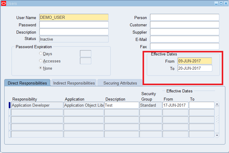 Disable user in Oracle Apps